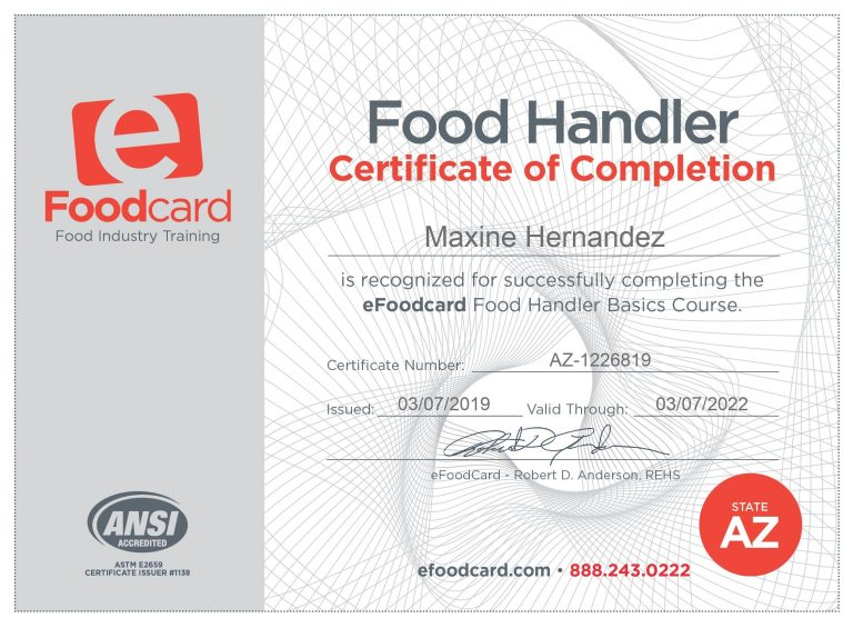 Food card Certificate