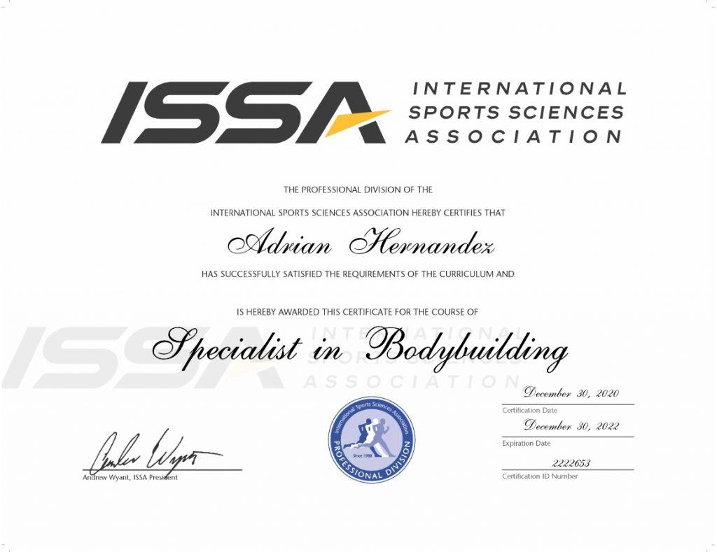 ISSA - Bodybuilding Specialist Certificate 12-30-2020