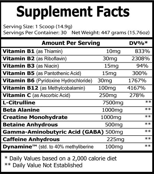 Preworkout supp facts