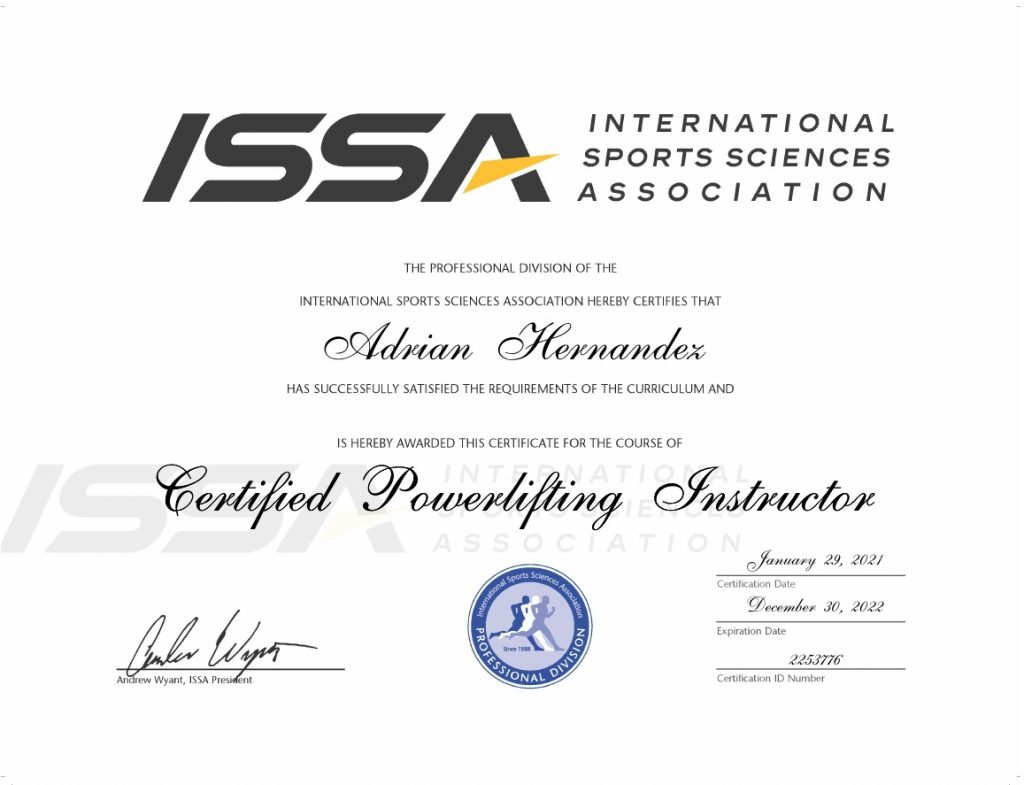 ISSA - Powerlifting Instructor Certificate 1-30-2021